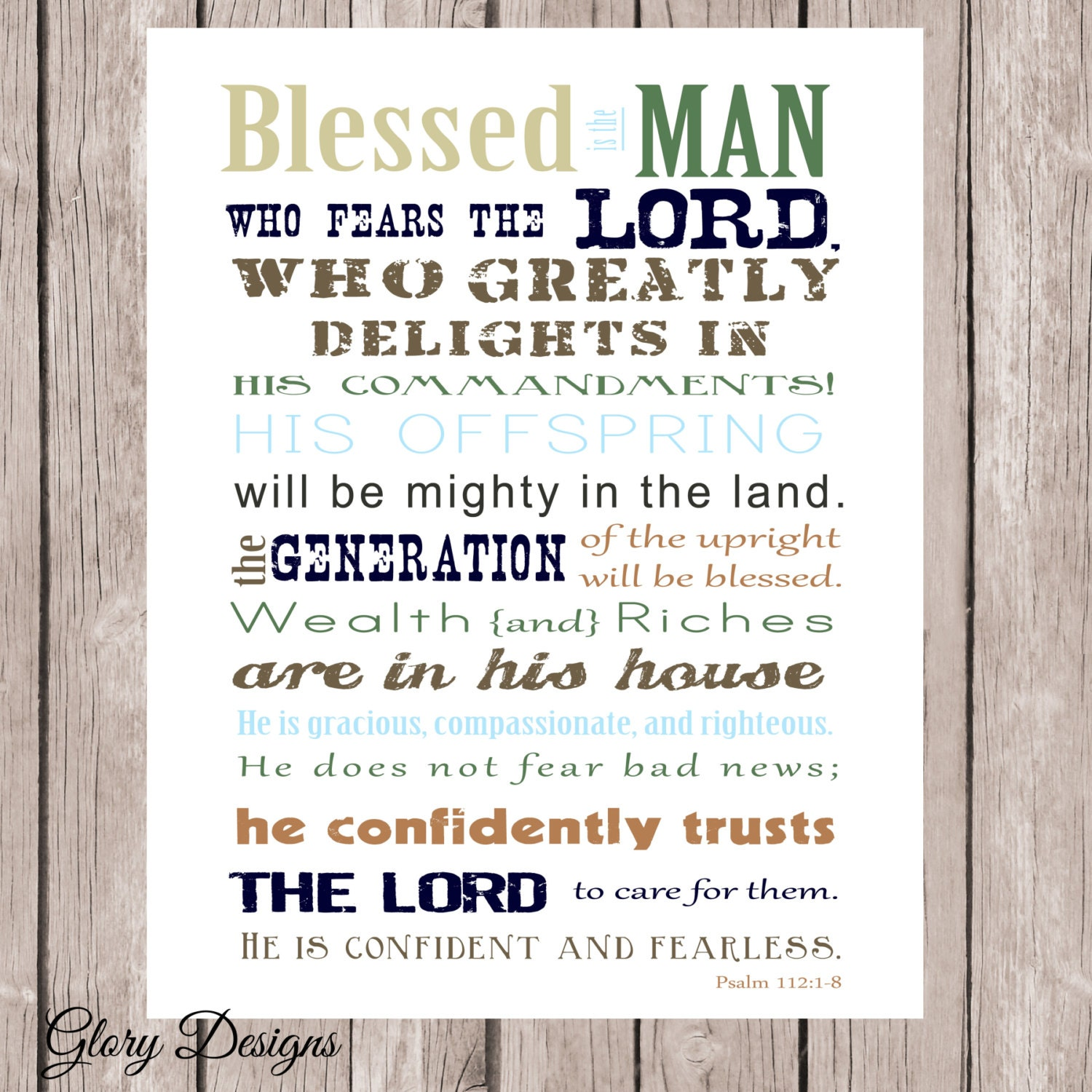 Bible Verse Father's Day Scripture art Psalm 112