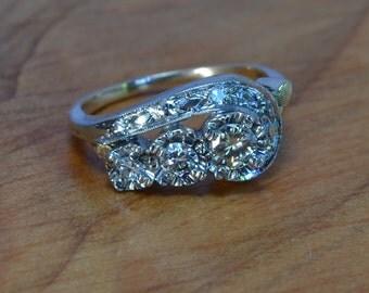 Antique Diamond Engagement Ring // Antique 18K White + 14K Yellow Gold Engagement Ring // Art Deco Ring // .65ct Old Diamonds