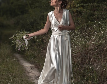 Jana -> Wedding dress in pure silk and cotton. Vintage inspired bridal gown. Boho wedding dress.