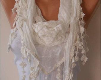 Creamy White Cotton Rose Scarf - Gift