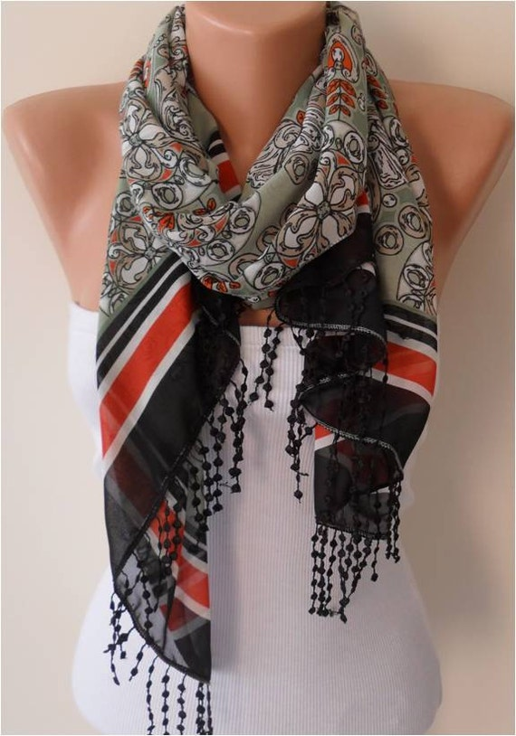 Chiffon Scarf with Lace Edge - Gift
