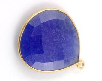 Dyed Sapphire, Bezel  HeartShape Component, Gold Vermeil ,21mm, 1 Piece, (BZCT6210)