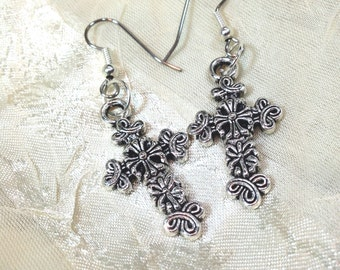 Ornate Celtic Cross Earrings in Sterling Silver Handmade Jewelry