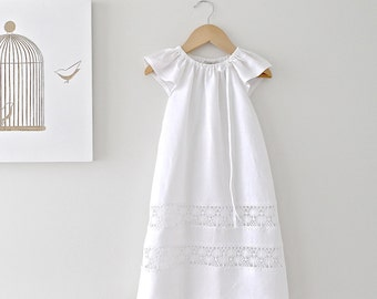 Long Baptism Baby Dress-Soft White Linen and Lace Fully Lined Traditional  Christening Gown-Children Clothing by Chasing Mini