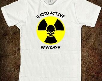 HAM RADIO Tee Shirt - Custom Printed with Radio Active Skull Logo & Callsign - Unisex Sizes  P4