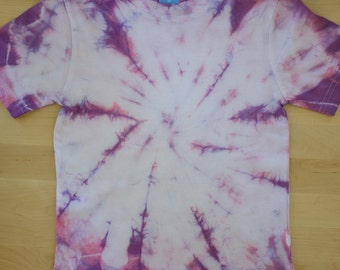 toddler tee, tie dye, purple, pink and white, spiral, age 2-3