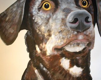 Original large scale Dog painting by Natalie Wright Acrylic on paper Shelter Dog Young pup Brown Lab
