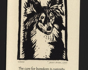 Card. Dogs. Waiter, sheltie block print by Jesse Larsen on quality blank card w/Allen Parr quote. Made to order only, free US shipping.
