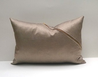 Decorative Pillow Silvery Soft Silvery Cover With Gold-Tone Accent Zipper On Bias 12 x 12, 12 x 18 Lumbar, Square, More Sizes