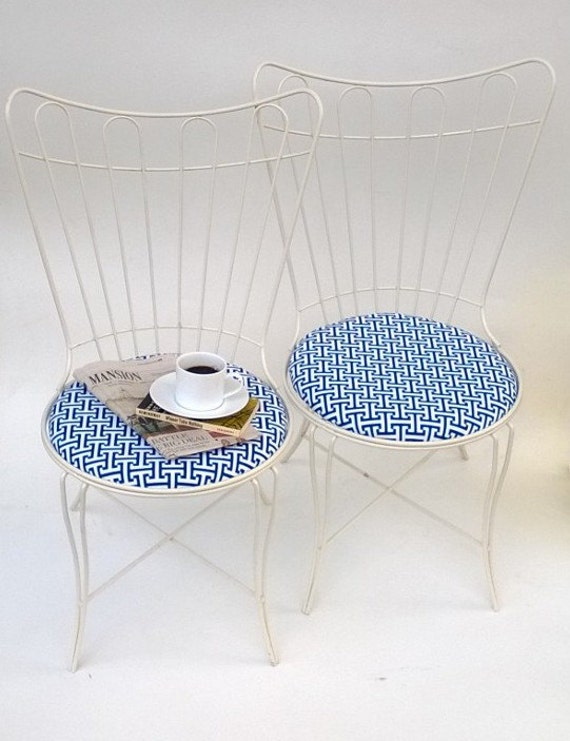 Vintage Metal Café Chairs, Mid-Century Chairs With Upholstered Seats Blue, White, Set Of Two