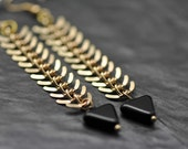 Gold Fishbone earrings, made with gold tone fishbone chain and triangular black czech glass beads