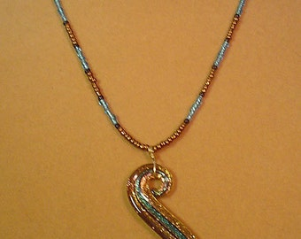 "GORGEOUS 18"" necklace with Lampworked Glass Pendant and Matching Earrings - S036"