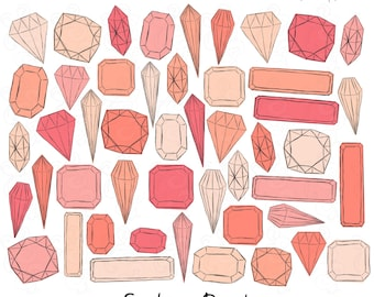 Digital Clip Art Sketched Jewels, Gems, and Diamonds: Pink and Coral Tones