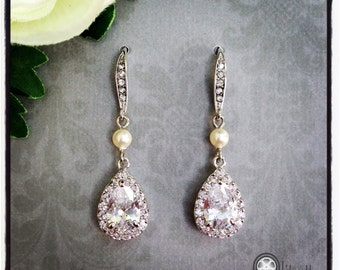 Bridesmaid Bridal Wedding Earrings, Bridal Dangle Earrings, Teadrop Bridal Earrings, Wedding Jewelry, Mother of the Bride/Groom