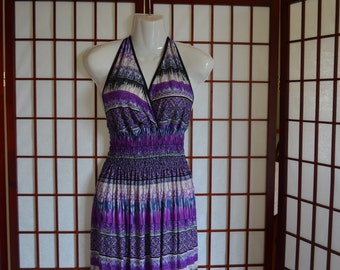 Halter Top Sundress in shades of purple, black and white