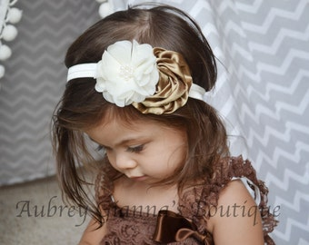 Baby headband, Brown and ivory , Headbands, infant headbands, Newborn Photo Prop, baby hair bow, bow, baby accessories, newborn headband