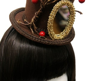 Fairytale Steampunk Snow White's Wicked Queen Magic Mirror and Poison Apple Tree Top Hat