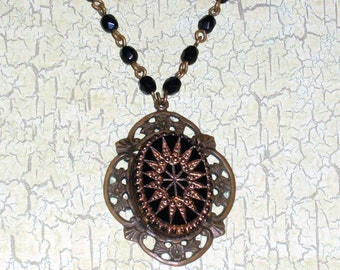 Steampunk Necklace, Vintage Victorian Filigree Necklace, Goth Necklace, Gothic Necklace, Black Beaded Chain Necklace, N59