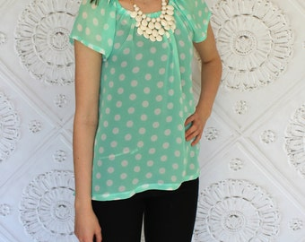 Mint Green and Soft White Polka Dot Sheer Short Sleeve Women's Peasant Top