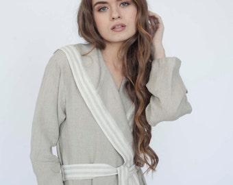 HODDED LINEN ROBE - linen hooded bathrobe - man robe, women robe - thin linen robe - bathrobe online - linen bathrobe - unisex linen robe