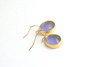 Purple Earrings in Gold - Oval Bezel Set Purple Drop Earrings - Dainty Purple Drops on Gold Filled Earwire, Purple Bridesmaid Earrings