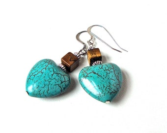 Heart earrings, turquoise jewelry, southwest jewelry, heart jewelry, blue heart earrings, dangle earrings, native american jewelry