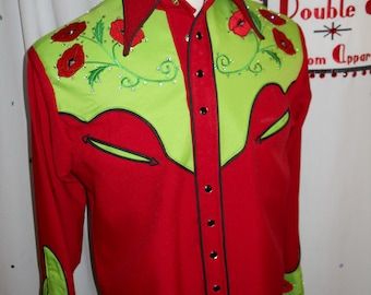 Men's custom poppy western shirt - Size Medium