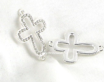 Silvertone Rhinestone Sideways Cross Connector - Beads Jewelry Supplies Crafting Supplies Jewelry Making
