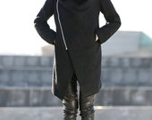 Black Winter Coat with Large Cowl Neck and Zipper - Modern Women Ladies Asymmetrical Coat C162