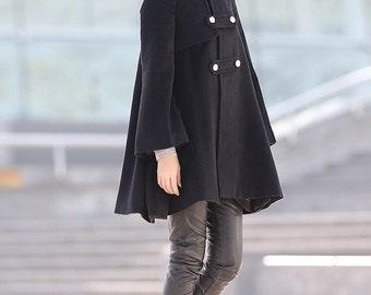 Black capes winter cape Wool blend jacket-C168