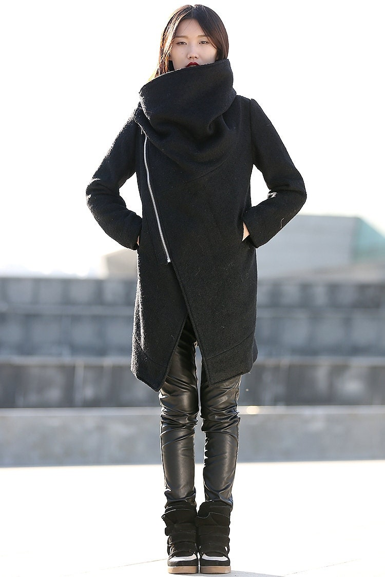 Black Winter Coat with Large Cowl Neck and Zipper by YL1dress