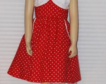 Lela Teen Beach  Red and White Polka Dot Dress
