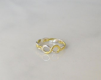 Silver and Gold Infinity Ring, White, Rose, Yellow gold Infinity Band, Promise Ring