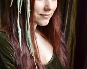 Pixie MINI ELFLOCKS Clip-in Dreads Streak in Green/Burnt Orange/Slate Blue Dreadlocks Alt Fashion Tribal Dance Cosplay Goth LARP