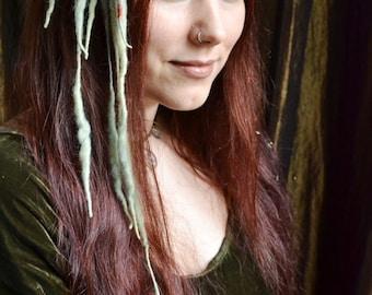 Pixie MINI ELFLOCKS Clip-in Dreads Dreadlocks in Green/Burnt Orange/Slate Blue for Cosplay, LARP, Tribal Dance, Festivals, Alt Fashion, Goth