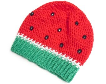 Watermelon Crochet Slouchy Beanie - Melon Unisex Hat with Rhinestone Seeds - Red, Green and White Slouch Beret - Vegan Fruit Hat