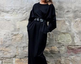 Black dress, Caftan, Oversized dress, Casual dress, Long sleeve maxi, Spring dress, Kaftan, Plus size clothing, Plus size dress, 134.121