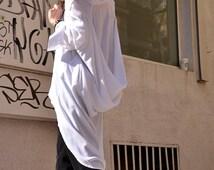 White   Loose  Shirt/ Asymmetric shirt/ Oversize Summer  top A11106
