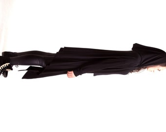 Black Hooded Cardigan  /  Extravarant Maxi Asymmetric Hoodie / Viscose  Vest A10039