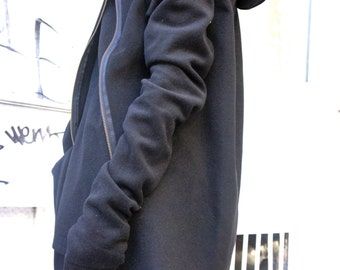 Autumn / Winter Asymmetryc Extravagant Black Hoodded Coat / Wool  Coat / Wool Cashmere Blend A07079