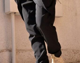 Loose Casual Black Drop Crotch Harem Pants / Extravagant Black Pants/Unisex pants A05026