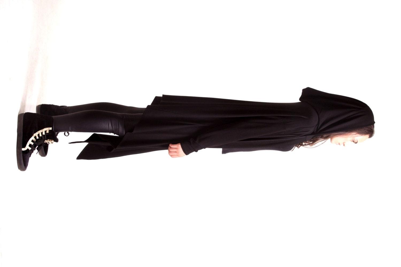 Black Hooded Cardigan / Extravarant Maxi Asymmetric Hoodie /