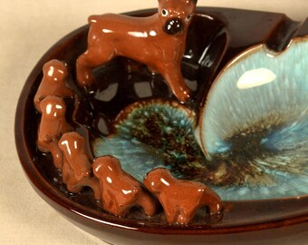 Dog Ashtray Coin Tray Dish Ash Tray Boxer Turquoise 1950s