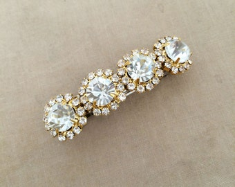 rhinestone barrette gold, bridal barrette, rhinestone wedding barrette, gold hair clip, rhinestone hair accessories GOLD 4