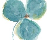 Watercolor Flower, Orchid Print from Original Watercolor Painting, Aqua Wall Decor, Flower Print, Flower Painting, Aqua Blue Home Decor