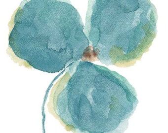Watercolor Flower Orchid Print From Original Watercolor Painting Aqua Wall Decor Flower Print