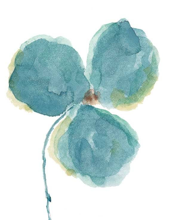 Aqua Blue Watercolor Orchid Print from Original Painting, 8x10