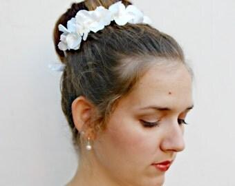 PARASOL - opalescent white hydrangea Bun Belt, wedding hair accessories, flower crown, floral garland, white floral crown, bridal hair clip