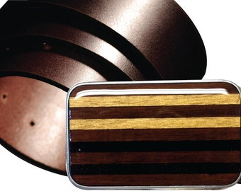 INTERCHANGEABLE Magnetic belt buckle, Gold and Black buckle, Stripe belt buckle, Wood belt buckle, Gold belt buckle, Gold Striped Buckle