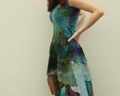 Nuno felted dress - High low multicolor dress - Blue browngreen midi dress - asymmetric bridesmaid's clothing